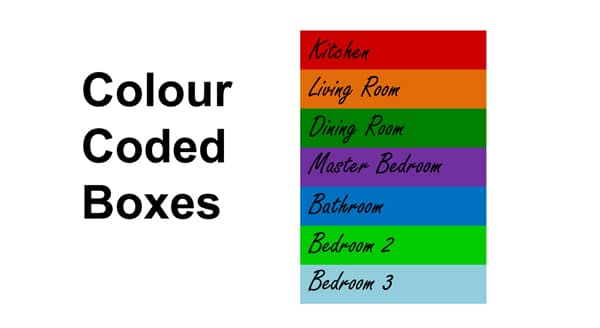 Packing tips: Colour coded boxes